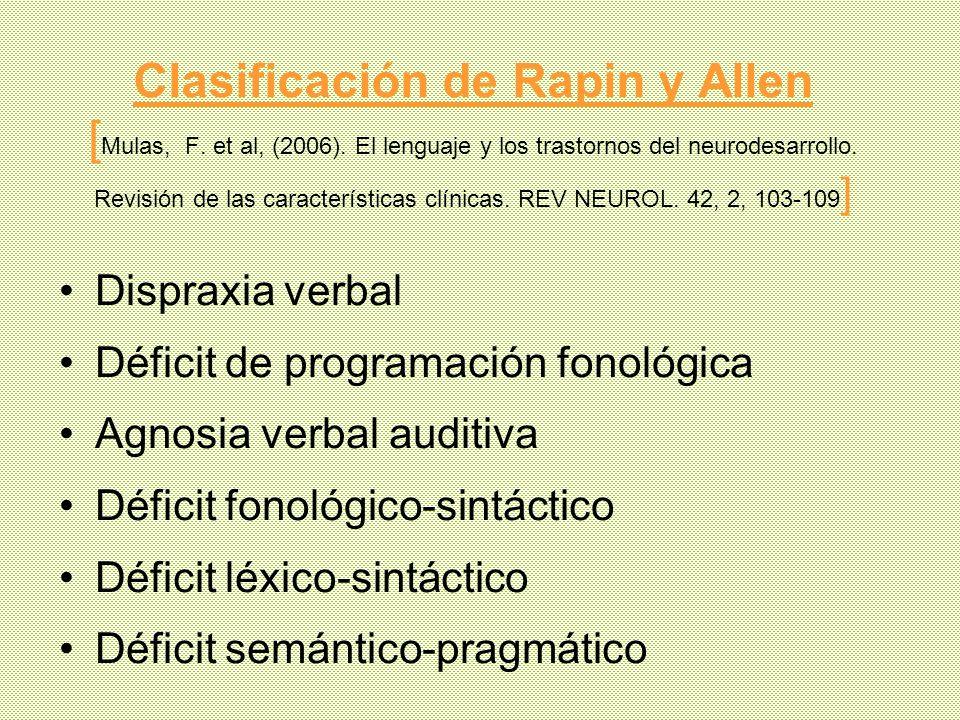 Clasificación de Rapin y Allen [Mulas, F. et al, (2006)